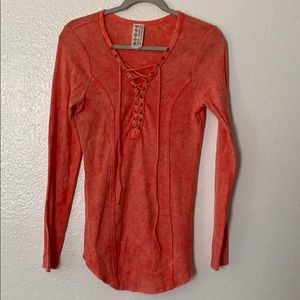 Free People Cora lace front Henley Medium.    (B)